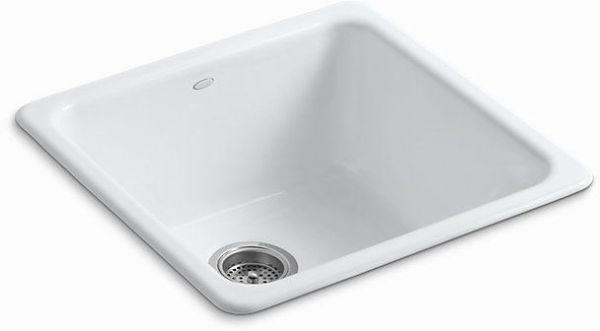 "Iron/Tones Drop-In/Undermount Kitchen Sink, Enameled Cast Iron 20-7/8"" X 20-7/8"" X 10"""
