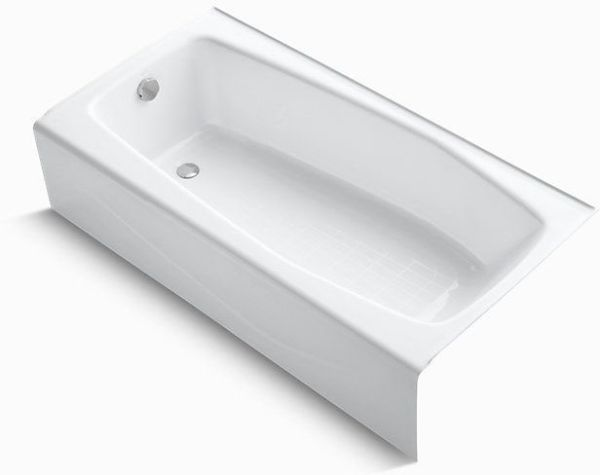 "Villager Alcove Mount Bathtub, Cast Iron 60"" X 30-1/4"" White"