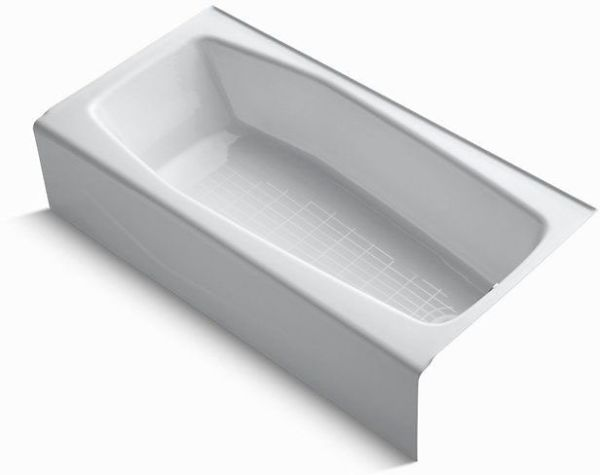 "Villager Alcove Mount Bathtub, Cast Iron 60"" X 30-1/4"" Right White"