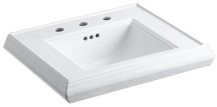 "Memoirs Pedestal Mount Bathroom Sink, Fireclay 24"" X 19-3/4"" X 8"" White"