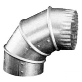 "4"" Adjustable 90D Gas Vent Elbow, Galvanized Sheet Metal"