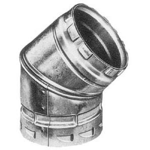 "4"" Adjustable Round 45D Gas Vent Elbow, Aluminum Alloy/Galvanized Steel"