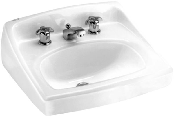 "18-1/4"" x 20-1/2"" White Vitreous China 3-Hole D in Rectangle Single Bowl Wall Mount Bathroom Sink"