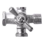 "1/2"" x 1/2"" x 3/4"" Brass Washing Machine Valve - T-Handle, FPT x MPT x MHT"