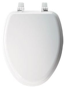 Closed Front Elongated Toilet Seat, Molded Wood White