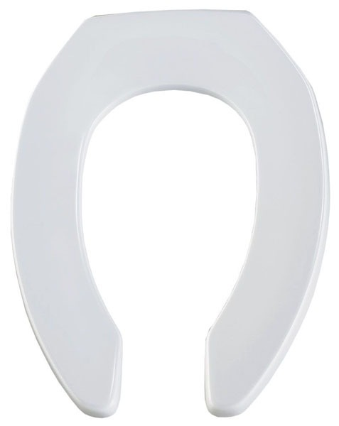 Elongated Toilet Seat - Open Front Less Cover, Commercial Heavy Duty Plastic