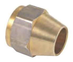"1/4"" OD Rough Brass Short Hex Flare Tube Fitting Nut - 7/16""-20 TPI, 45D"