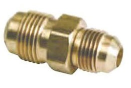 "3/8"" x 1/4"" Rough Brass Reducing Union - 45D Flare Compression"