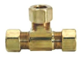 """3/8"""" Rough Brass Straight Tee - Compression"""
