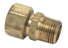 "3/8"" x 1/2"" Rough Brass Male Reducing Adapter - Compression x MPT"