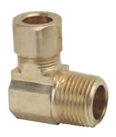 """3/8"""" Outer Diameter X 1/2"""" Compression x Male Threaded Brass Reducing 90D Elbow"""