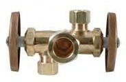 """1/2"""" x 3/8"""" x 3/8"""" Rough Brass Angle Stop - Compression, 125 psi"""