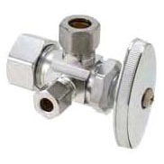 """1/2"""" x 3/8"""" x 1/4"""" Rough Brass Water Supply Stop - Compression, 125 psi"""