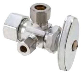 """1/2"""" x 3/8"""" x 3/8"""" Chrome Plated Brass Water Supply Stop - Compression, 125 psi"""