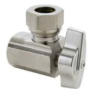 """1/2"""" x 7/16"""" x 1/2"""" Chrome Plated Brass Angle Ball Stop - FPT x Slip Joint, 125 psi"""