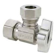 "1/2"" x 7/16"" x 1/2"" Chrome Plated Brass Angle Ball Stop - Compression x Slip Joint, 125 psi"
