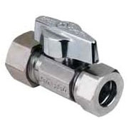 "1/2"" x 7/16"" x 1/2"" Chrome Plated Brass Straight Ball Stop - Compression x Slip Joint, 125 psi"