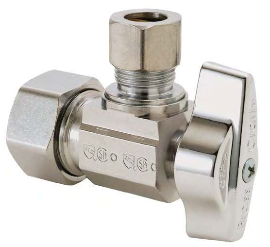"""1/2"""" x 1/4"""" Chrome Plated Brass Angle Ball Stop - Compression, 125 psi"""