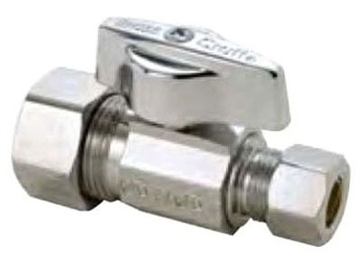 "1/2"" x 3/8"" Chrome Plated Brass Straight Ball Stop - Compression, 125 psi"