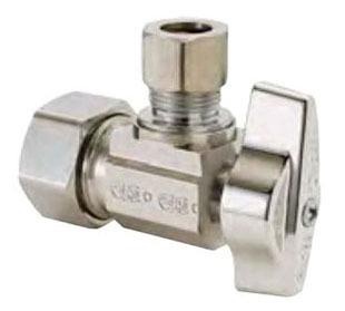 "1/2"" x 3/8"" Chrome Plated Brass Angle Ball Stop - Compression, 125 psi"