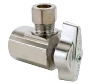 """1/2"""" x 3/8"""" Chrome Plated Brass Angle Ball Stop - FPT x Compression, 125 psi"""
