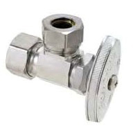 """1/2"""" x 7/16"""" x 1/2"""" Chrome Plated Brass Angle Stop - FPT x Slip Joint, 125 psi"""