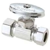 "1/2"" x 7/16"" x 1/2"" Chrome Plated Brass Straight Stop - FPT x Slip Joint, 125 psi"