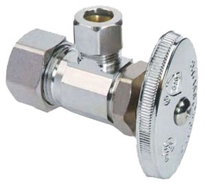 "1/2"" x 1/4"" Chrome Plated Brass Angle Stop - Compression, 125 psi"