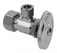 """1/2"""" x 3/8"""" Chrome Plated Brass Angle Stop - Compression, 125 psi"""