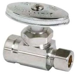 "1/2"" x 3/8"" Chrome Plated Brass Straight Stop - FPT x Compression, 125 psi"