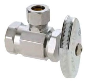 """1/2"""" x 3/8"""" Chrome Plated Brass Angle Stop - FPT x Compression, 125 psi"""