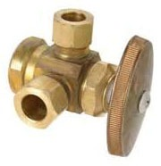"""1/2"""" x 3/8"""" Outer Diameter x 1/4"""" Outer Diameter Female Threaded x Compression x Compression Water Supply Stop"""