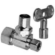 "1/2"" x 3/8"" Chrome Plated Brass Straight Stop with Loose Key - Compression, 125 psi"