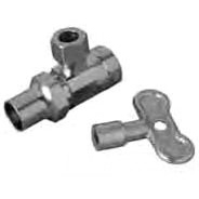 "1/2"" x 3/8"" Chrome Plated Brass Angle Ball Stop with Loose Key - FPT x Compression, 125 psi"