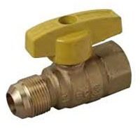 "1/2"" Forged Brass Gas Ball Valve - 1/4 Turn T-Handle, Flare x FPT, 5 psi"