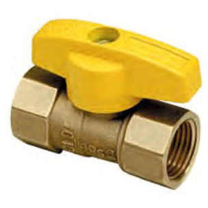"Threaded Gas Ball Valve, Forged Brass Female Threaded x Female Threaded 3/4"" x 3/4"""