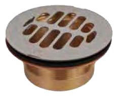 "2"" No Caulk Shower Drain, Brass"