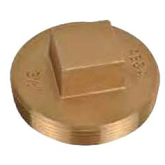 "3-1/2"" Brass Raised Head Cleanout Plug"