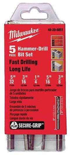 Secure-Grip Self Centering Hammer Drill Bit Set, Carbide