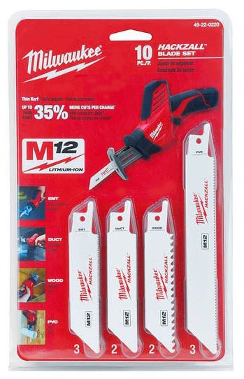 M12, HACKZALL, SAWZALL Straight Back Saw Blade Set, Bi-Metal