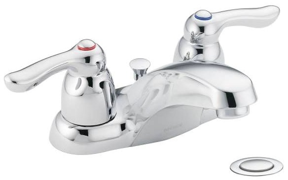 Bathroom Sink Faucet with Low-Arc Spout & Two Lever Handle - Chateau, Chrome Plated, Deck Mount, 1.2 GPM / 1.5 GPM