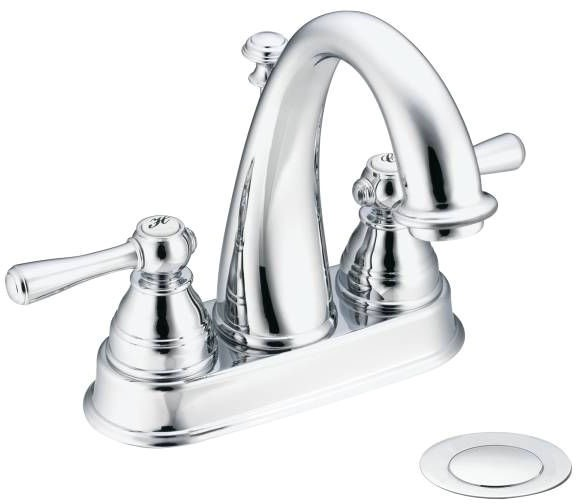Bathroom Sink Faucet with High-Arc Spout & Two Lever Handle - Kingsley, Chrome Plated, Deck Mount, 1.2 GPM / 1.5 GPM