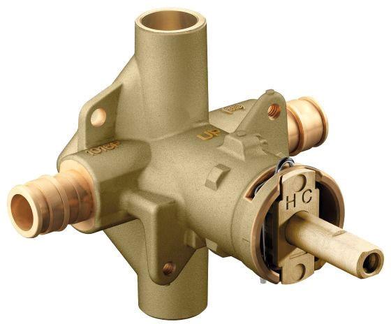 "1/2"" Pressure Balancing Tub and Shower Valve - Posi-Temp, PEX, 1.5 GPM, Brass, 4-Port"