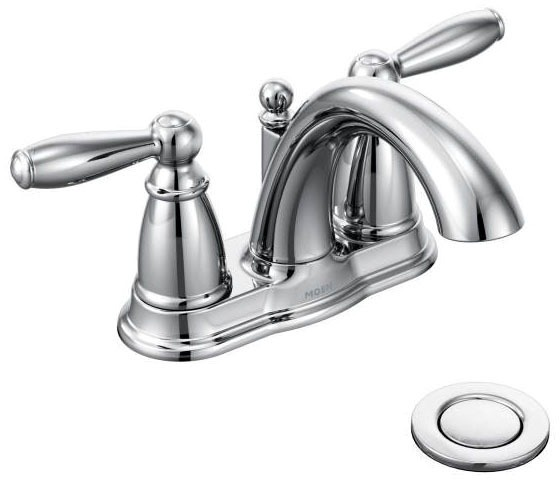 Bathroom Sink Faucet with Two Lever Handle - Brantford, Chrome Plated, Deck Mount, 1.5 GPM