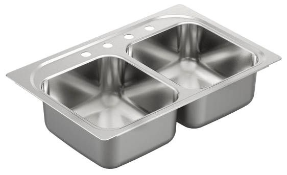 "33"" x 22"" x 8"" Drop-In Mount Double-Equal Bowl Kitchen Sink - SoundSHIELD, Brushed, Stainless Steel"