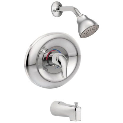 Tub and Shower Faucet with Diverter Spout & Single Lever Handle - Chateau / Posi-Temp, Chrome Plated, Wall Mount, 1.75 GPM