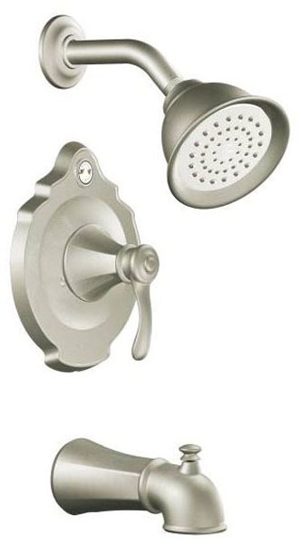 Tub and Shower Trim with Diverter Spout & Single Lever Handle - Vestige / Posi-Temp, Brushed Nickel, Wall Mount, 2.5 GPM