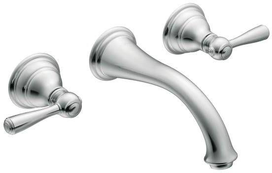 Kingsley Chrome Two-Handle Wall Mount Bathroom Faucet
