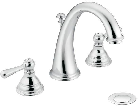 Bathroom Sink Faucet with High-Arc Spout & Two Lever Handle - Kingsley / Hydrolock, Chrome Plated, Deck Mount, 1.5 GPM