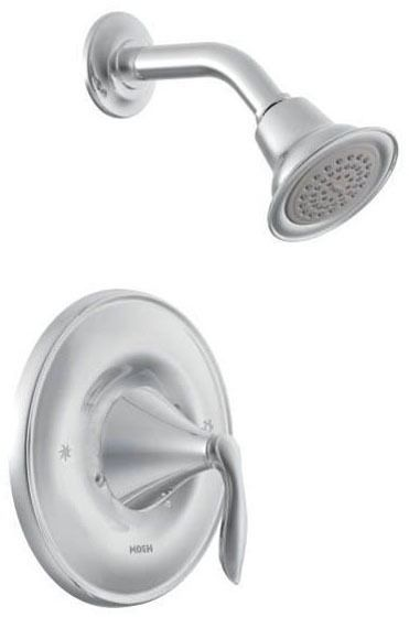 Shower Faucet with Single Lever Handle - Eva / Posi-Temp, Chrome Plated, Wall Mount, 1.75 GPM